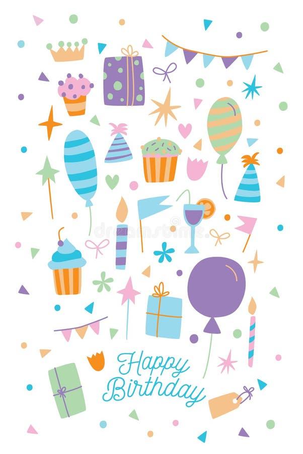 Alles Gute zum Geburtstagkarte Vector Illustration der Karikaturpostkarte mit Geschenkbox, Bonbons und Ballonen vektor abbildung