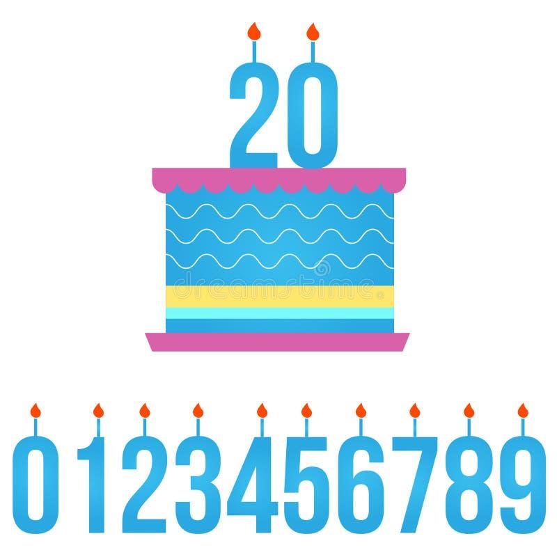 Alles- Gute zum Geburtstagkuchen mit brennender Kerze, Satz Zahlen Vektorabbildung getrennt auf weißem Hintergrund stock abbildung