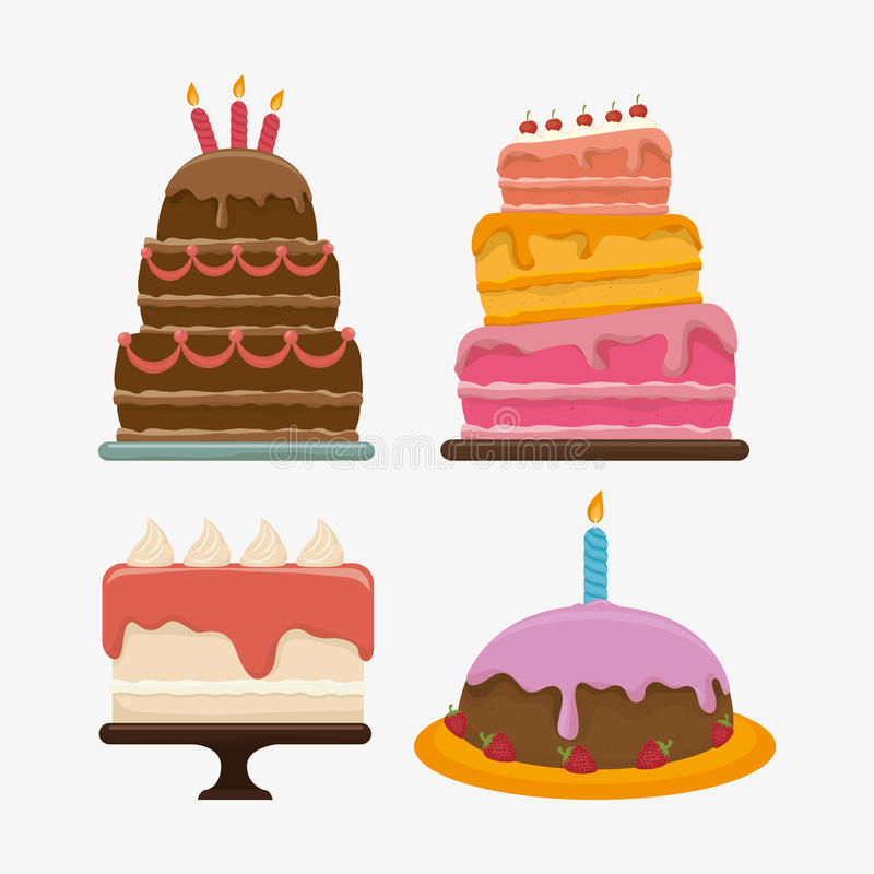 Alles- Gute zum Geburtstagkuchennachtisch lizenzfreie abbildung