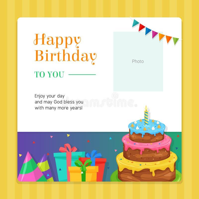 Alles- Gute zum Geburtstagmoderne Einladungs-Kartenschablone mit Geburtstags-Kuchen-und Geschenkbox-Illustration lizenzfreie abbildung
