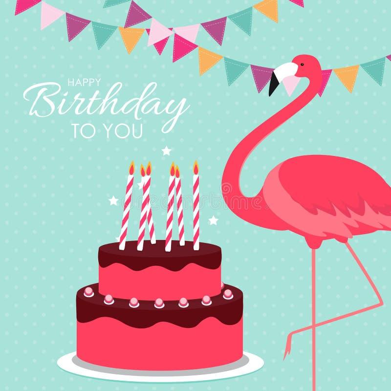 Alles- Gute zum Geburtstagplakat-Hintergrund mit Kuchen bunter und Karikatur-Rosa-Flamingo Abbildung lizenzfreie abbildung