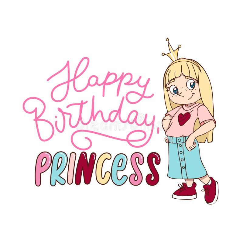Alles- Gute zum Geburtstagprinzessingruß-Kartenentwurf in der Karikaturart mit einem stilvollen Mädchen, das eine Krone trägt Wen lizenzfreie abbildung