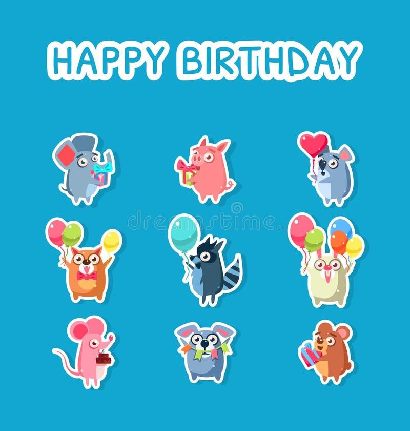 Alles- Gute zum Geburtstagsatz, nette lustige Tier-Aufkleber mit Ballonen und Geschenkboxen, Maus, Schwein, Katze, Waschbär, Kani vektor abbildung