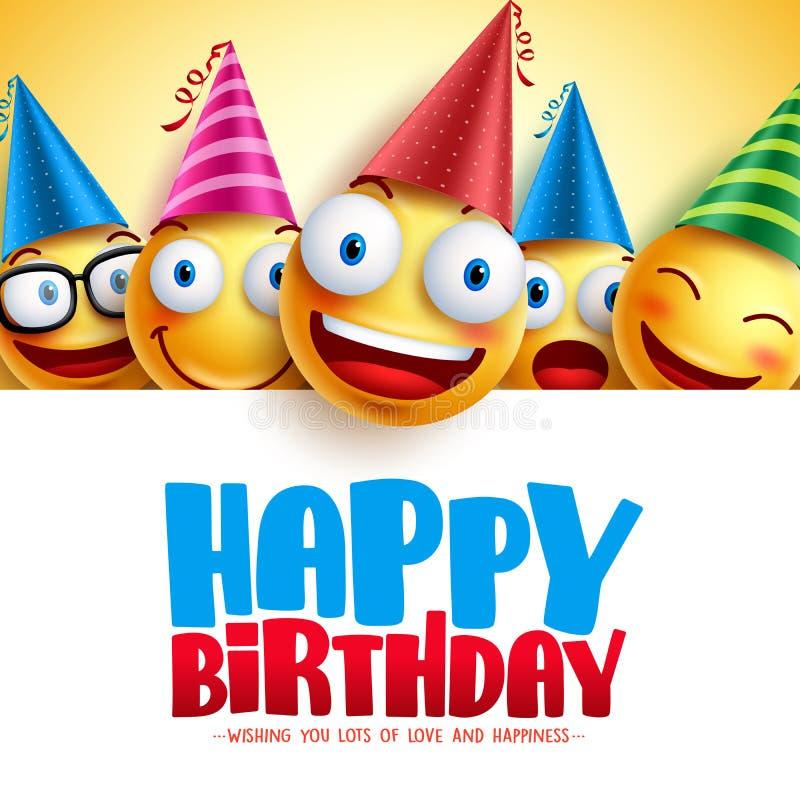 Alles- Gute zum Geburtstagsmileyvektor-Hintergrunddesign mit gelben lustigen und glücklichen Emoticons lizenzfreie abbildung