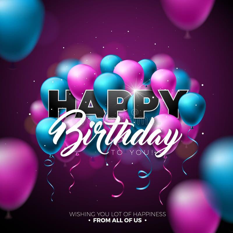 Alles- Gute zum Geburtstagvektor-Design mit Ballon, Typografie und Element 3d auf glänzendem Hintergrund Illustration für Geburts vektor abbildung