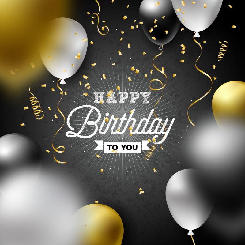Alles- Gute zum Geburtstagvektor-Design mit Ballon, Typografie und fallenden Konfettis auf dunklem Hintergrund Illustration für G lizenzfreie abbildung