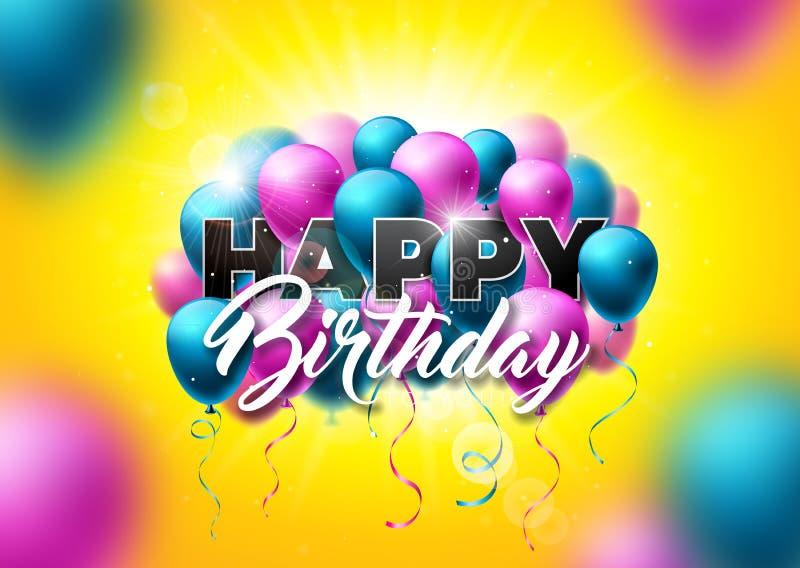 Alles- Gute zum Geburtstagvektor-Design mit Ballon, Typografie und fallenden Konfettis auf glänzendem gelbem Hintergrund Illustra lizenzfreie abbildung