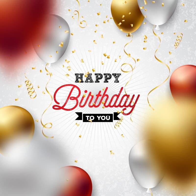 Alles- Gute zum Geburtstagvektor-Design mit Ballon, Typografie und fallenden Konfettis auf weißem Hintergrund Illustration für lizenzfreie abbildung