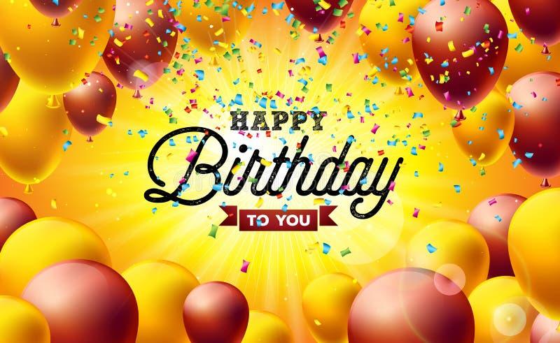 Alles- Gute zum Geburtstagvektor-Illustration mit Ballonen, Typografie und bunten fallenden Konfettis auf gelbem Hintergrund Entw lizenzfreie abbildung