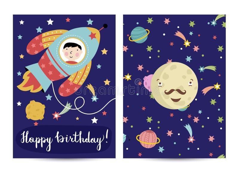 Alles- Gute zum Geburtstagvektor-Karikatur-Gruß-Karte lizenzfreie abbildung