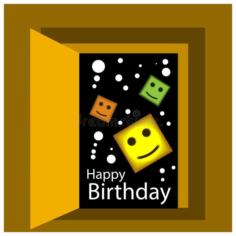 Alles- Gute zum Geburtstagvektordesign mit Raum spielt Hintergrund die Hauptrolle lizenzfreie abbildung