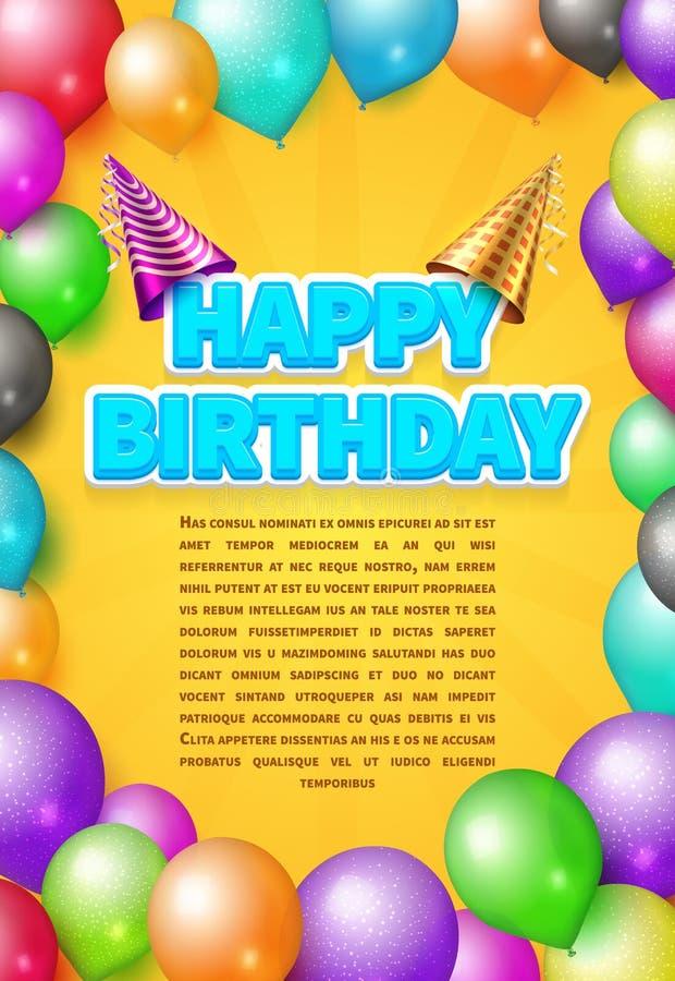 Alles- Gute zum Geburtstagvektoreinladungskarte oder -plakat mit Parteihüten und -farbe steigt im Ballon auf lizenzfreie abbildung