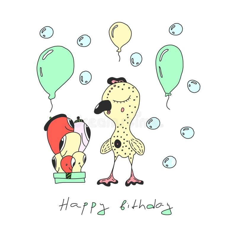 Alles- Gute zum Geburtstagvektorentwurf mit den smiley, die einen Geburtstagshut tragen helle Illustration mit lustigen Charakter lizenzfreie abbildung