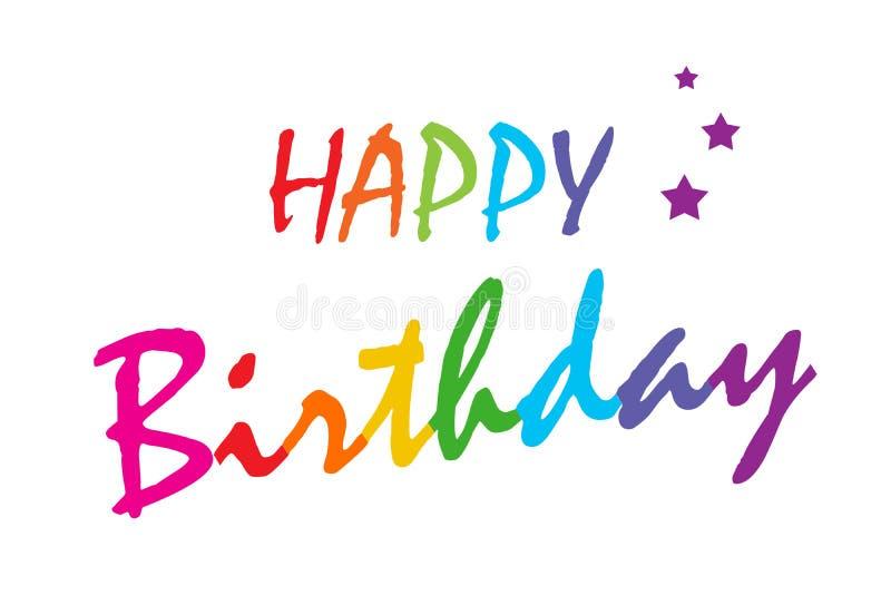 Alles- Gute zum Geburtstagvektorillustration Regenbogen-Gussfarben lizenzfreies stockfoto