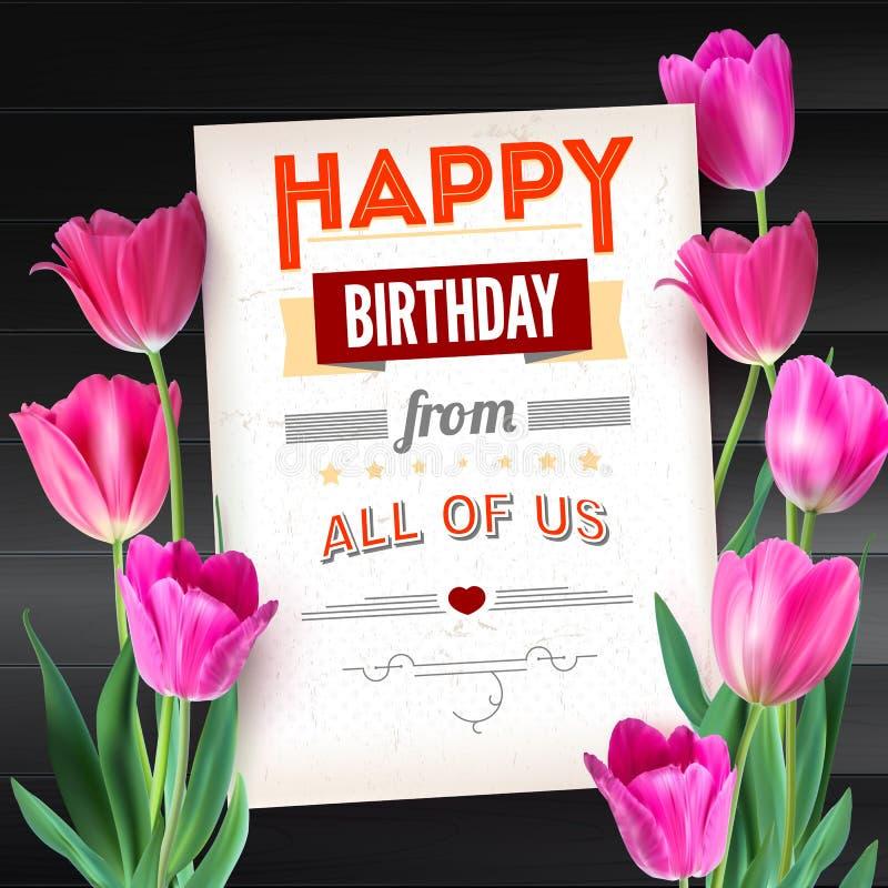 Alles- Gute zum Geburtstagweinlesetext-Plakatzusammensetzung auf Hintergrund von den dunklen hölzernen Planken Buntes Rosa des re stock abbildung