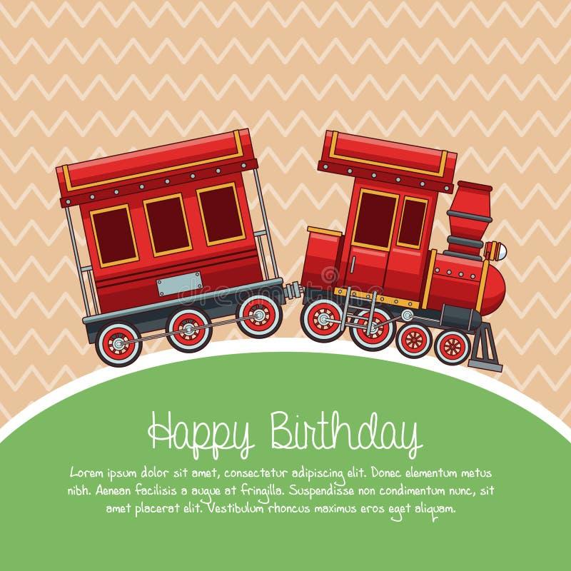 Alles- Gute zum Geburtstagzugkarikatur stock abbildung