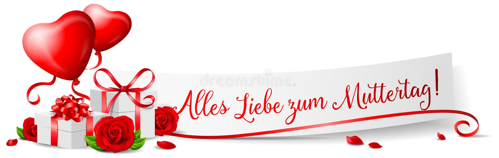 Alles Liebe zum Muttertag happy mothers day banner with roses and presents isolated. Design royalty free illustration