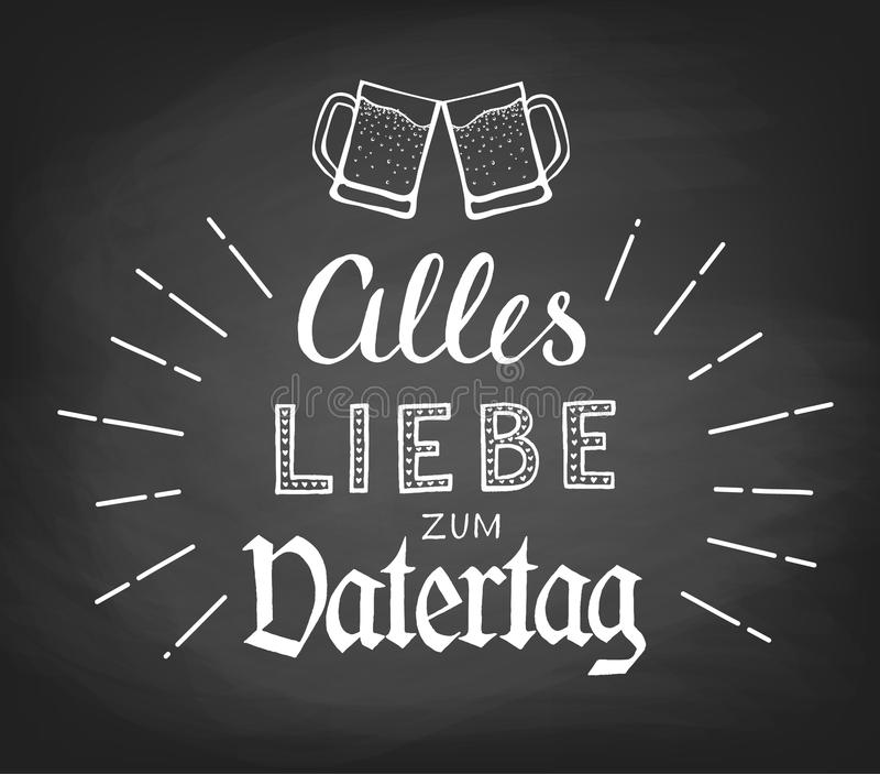 Alles Liebe zum Vatertag. Hand-drawn lettering. Translation: Happy Fathers Day vector illustration