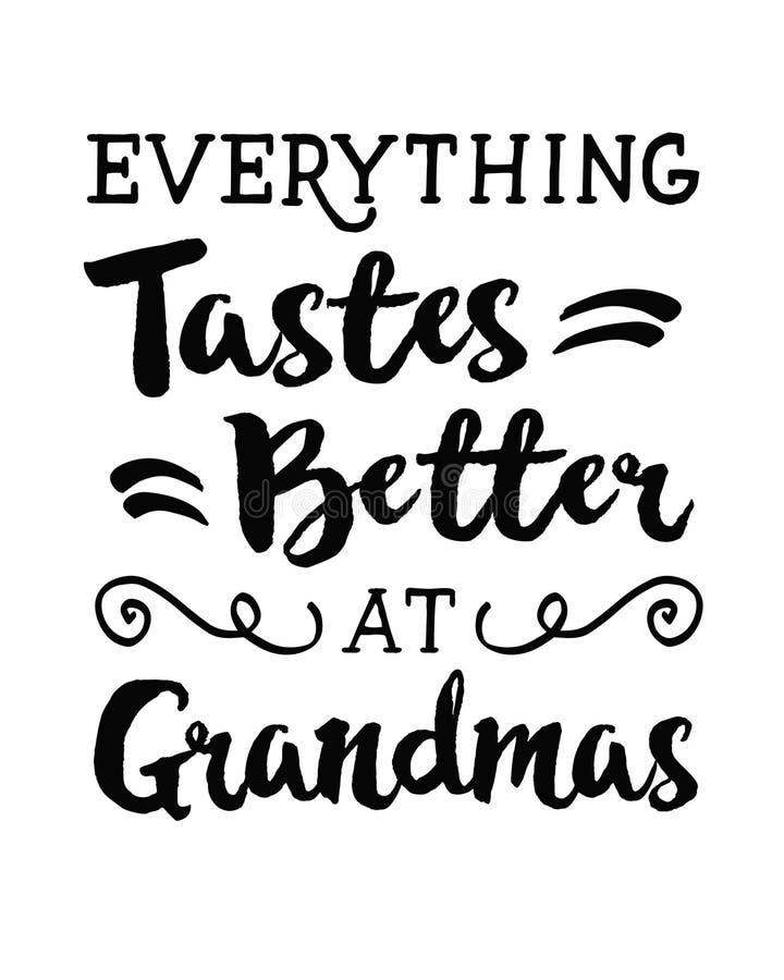 Alles schmecken an den Großmüttern besser stock abbildung