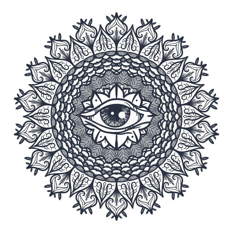 Alles sehende Auge in der Mandala stock abbildung