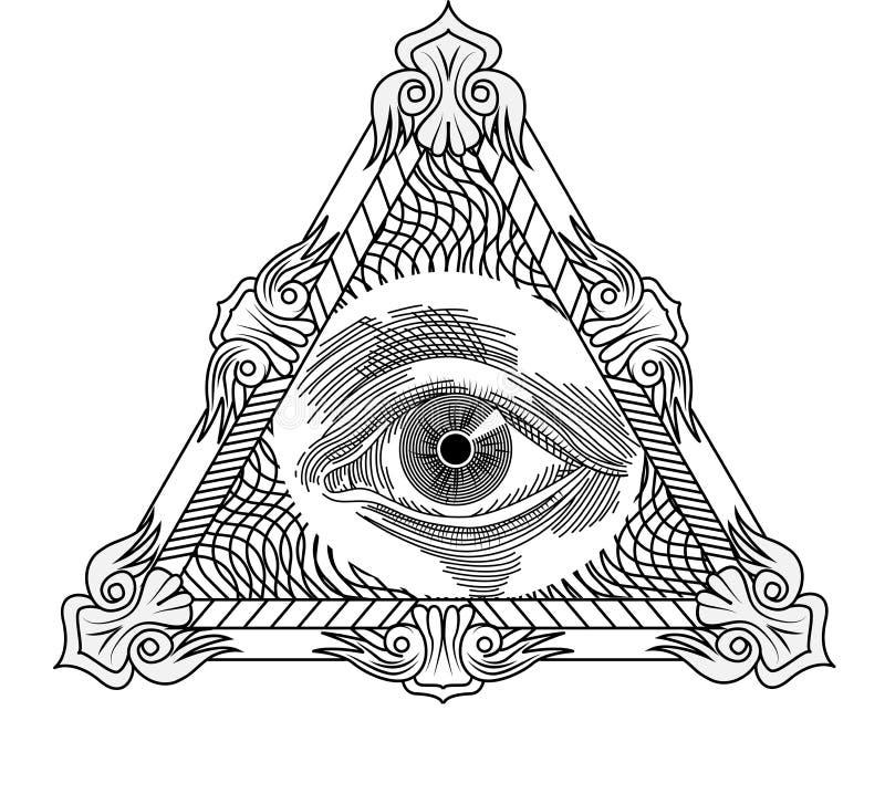 Alles sehende Auge, Tätowierungsart gravierend stock abbildung