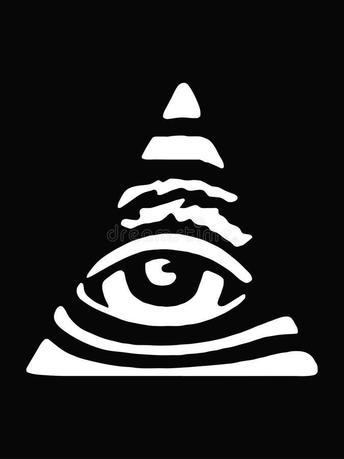 Alles sehende Auge Zeichen-Maurer Schwarzer Hintergrund stock abbildung