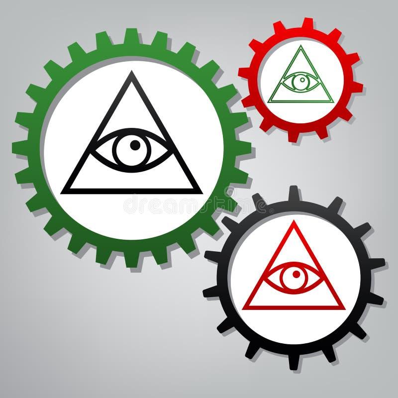 Alles sehende Augenpyramidensymbol Freimaurer und Angelegenheiten Vektor lizenzfreie abbildung