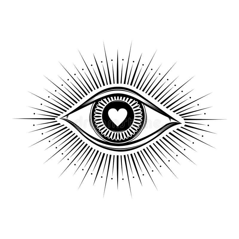 alles sehende Augensymbol Vision von Providence Alchimie, Religion, Geistigkeit, Okkultismus, T?towierungskunst Getrennte Abbildu stock abbildung