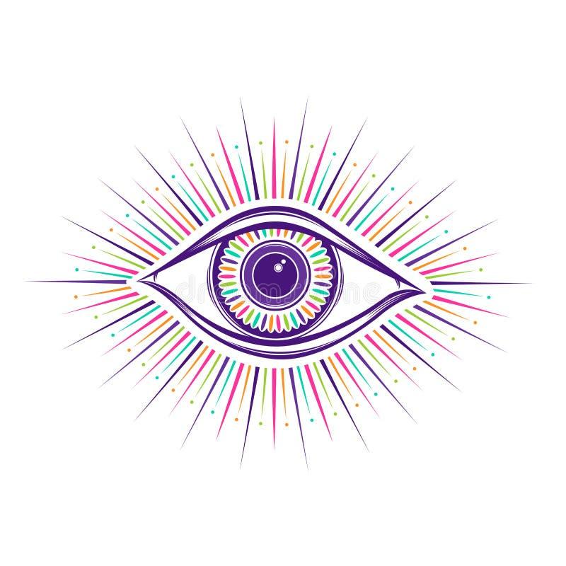 alles sehende Augensymbol Vision von Providence Alchimie, Religion, Geistigkeit, Okkultismus, T?towierungskunst Getrennte Abbildu vektor abbildung