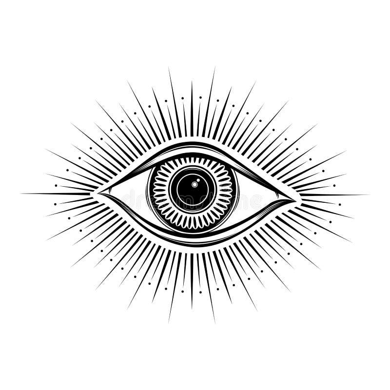 alles sehende Augensymbol Vision von Providence Alchimie, Religion, Geistigkeit, Okkultismus, T?towierungskunst Getrennte Abbildu lizenzfreie abbildung