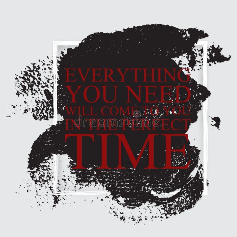 Alles u wenst zal aan u in de perfecte tijd - inspi komen vector illustratie