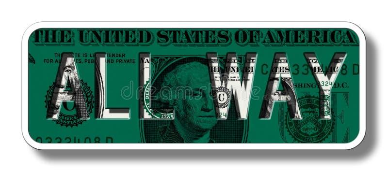 Alles Weisen-Zeichen auf Dollar-Banknote - Grün lizenzfreie abbildung