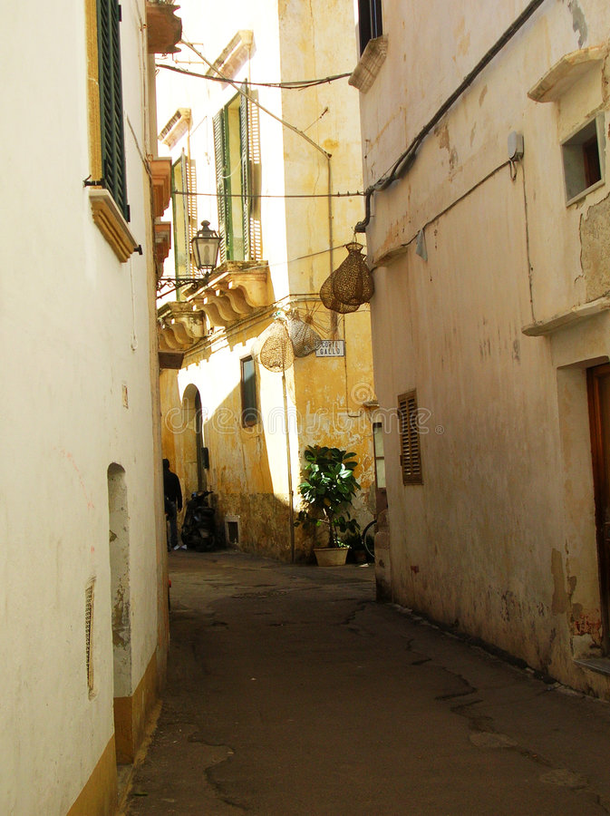 Alley. Old and narrow alley in a mediterranean village stock images