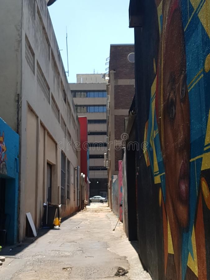 Alley alleyway graffiti Johannesburg symmetrisch stock afbeelding