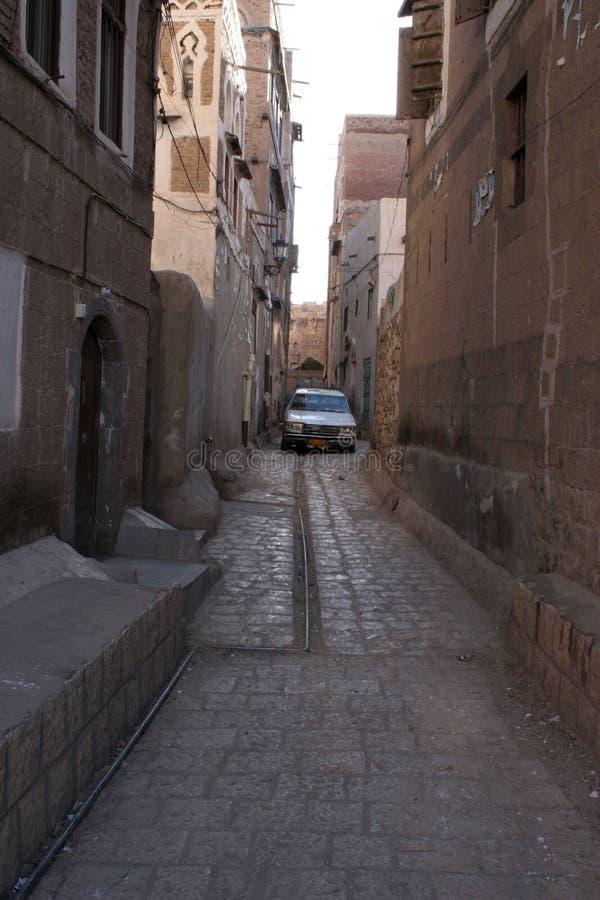 Alley between Buildings in Sanaa, Yemen royalty free stock photos