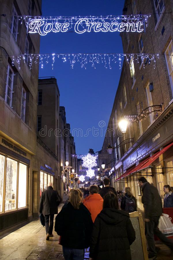 Alley in Cambridge at Christmas time stock photography
