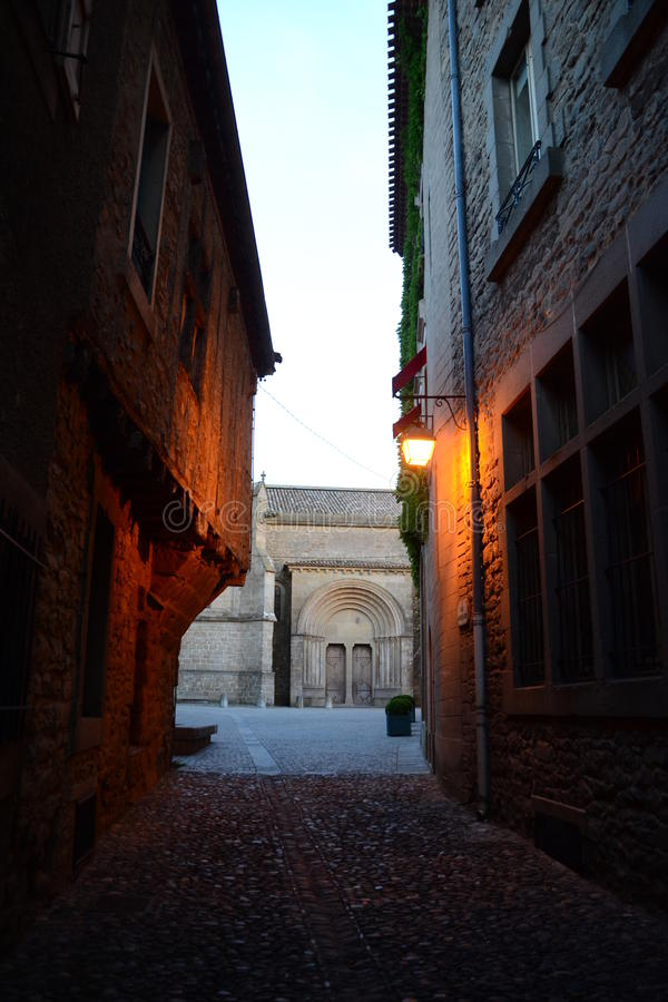 Alley in Carcassone , France, sunset view royalty free stock image