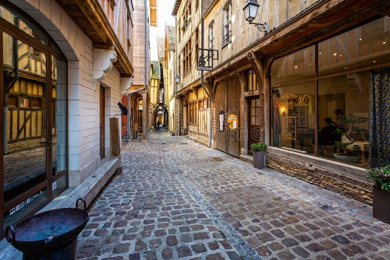 Alley of Cats in historic centre of Troyes with half timbered buildings. In Troyes, Aube, France on 31 August 2018 royalty free stock photo