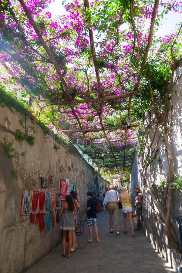 Alley in the center of Positano stock photo