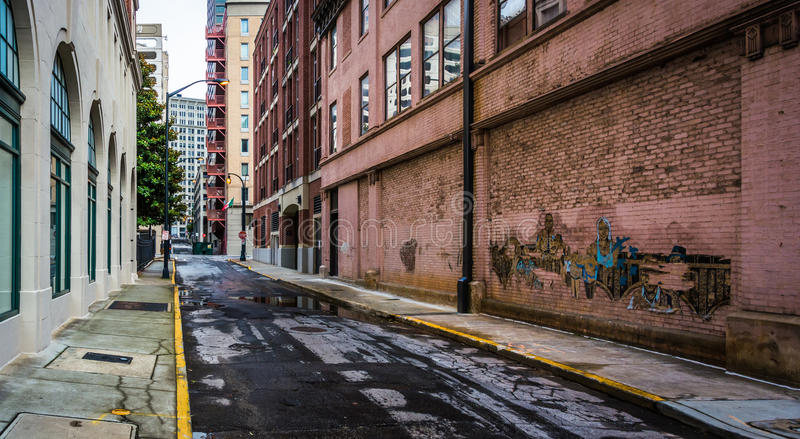 An alley in downtown Atlanta, Georgia. stock image