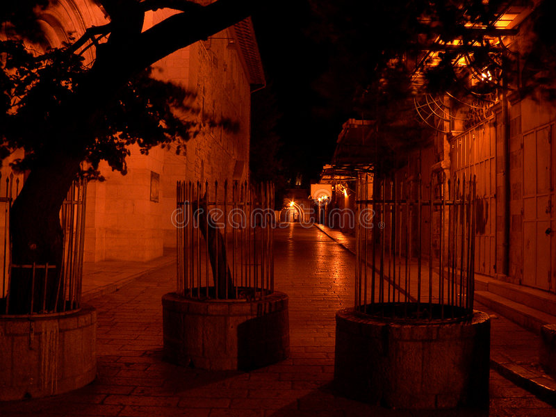 Download Alley in Jerusalem stock image. Image of loneliness, night - 177129
