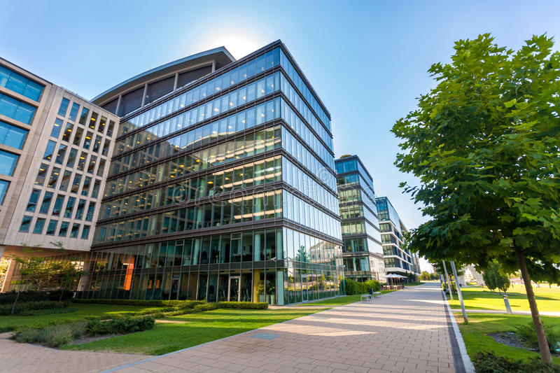 Alley with modern office buildings in Budapest stock photos