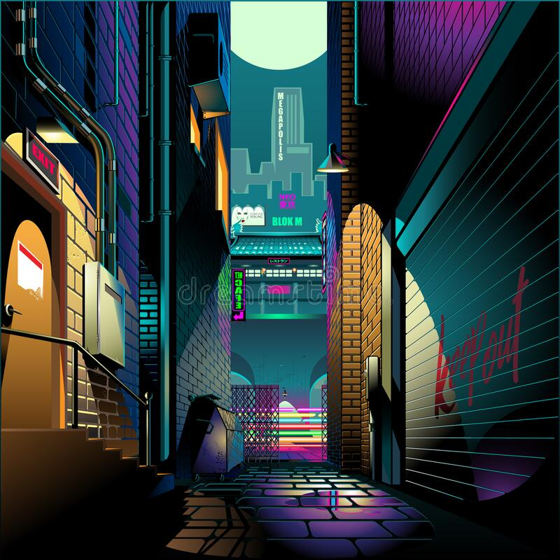 Alley at night cyber punk theme. Vector illustration background vector illustration