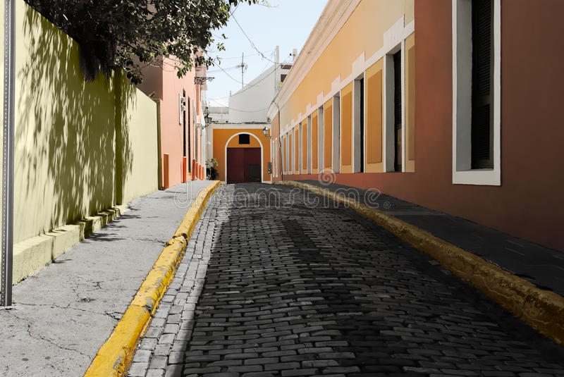 Alley In The Old City Of San Juan stock photos