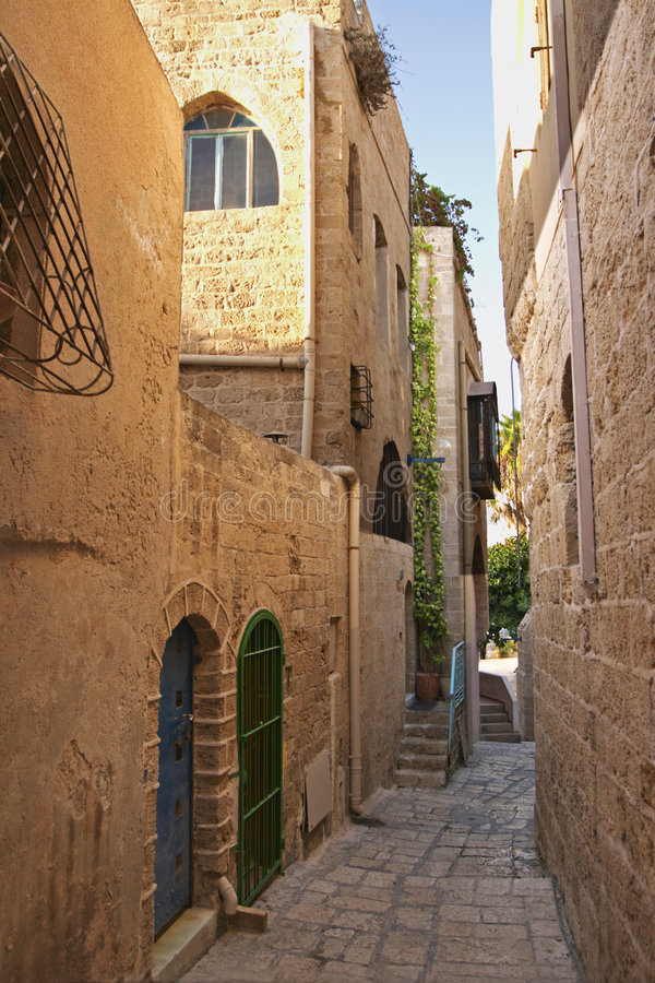 Alley, Old Jaffa City, Israel. An alley in Old Jaffa City near Tel Aviv, Israel. The narrow cobbled roadway and historic buildings are charachteristic of this stock images