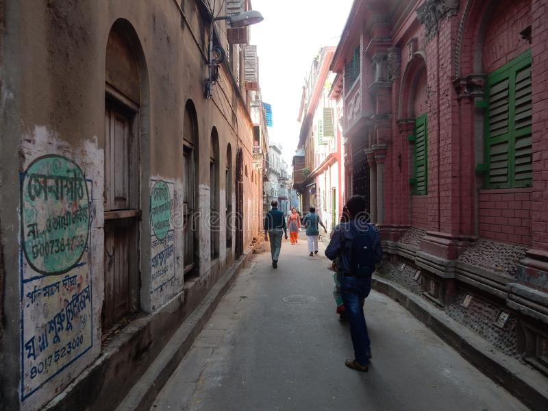 Alley of Old Part of Kolkata City, India royalty free stock image