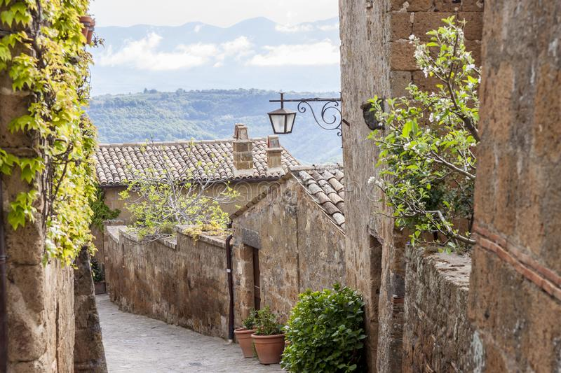 Alley in old town of Bagnoregio - Tuscany, Italy royalty free stock photos