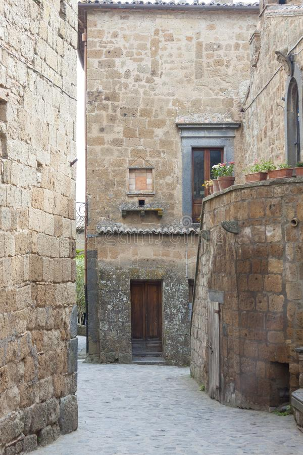 Alley in old town of Bagnoregio - Tuscany, Italy royalty free stock images