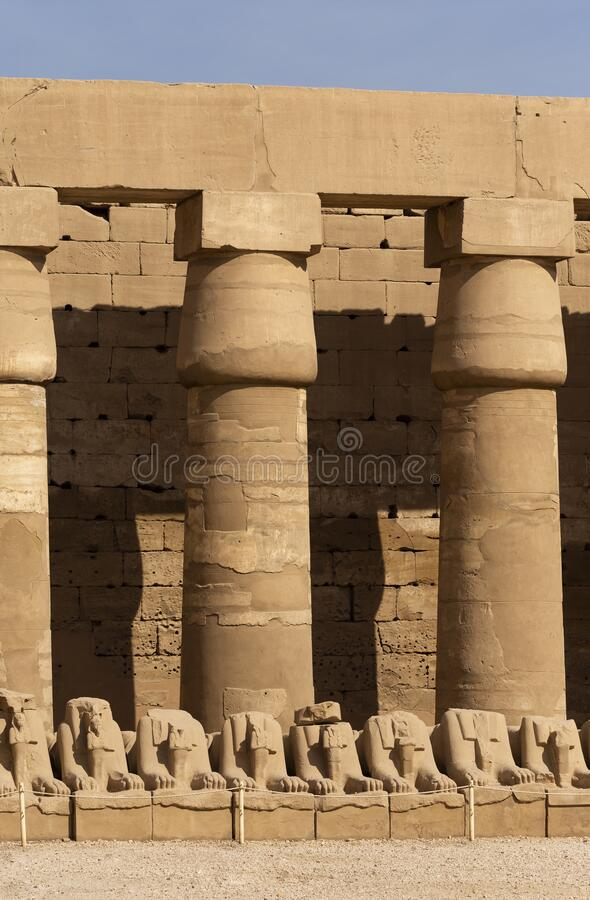 Alley of the ram-headed Sphinxes. Karnak Temple. Alley of the ram-headed Sphinxes. Karnak Temple, complex of Amun-Re. Luxor, Egypt royalty free stock photos