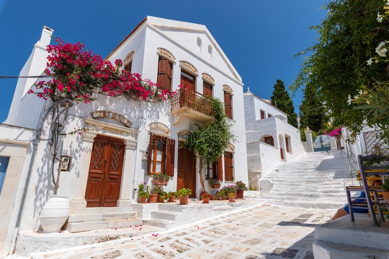 Street scene, on aegean island of Tinos, Greece. royalty free stock photo